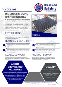 oil cooler data sheet